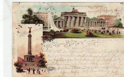 Berlin Mitte Brandenburger Tor Litho 1897