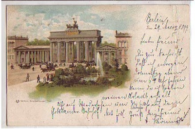 Berlin Mitte Litho Brandenburger Thor 1899